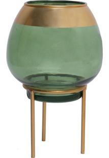 Castiçal Jade Verde E Dourado 13X24 Cm