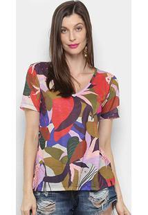 Camiseta Cantão Slim Canteiro Feminina - Feminino-Bege