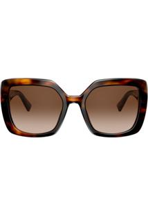 Valentino Eyewear Óculos De Sol Oversized Vlogo - Marrom