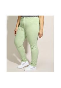 Calça De Sarja Feminina Plus Size Sawary Skinny Cintura Alta Verde Claro