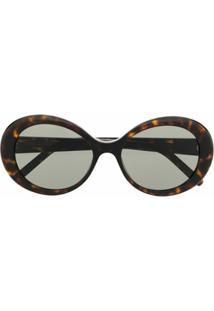 Saint Laurent Eyewear Óculos De Sol Com Efeito Tartaruga - Marrom