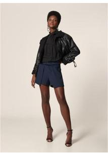 Shorts Crepe Mob Recorte Sobreposto Dark Feminino - Feminino-Azul Escuro