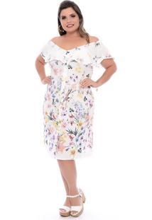 Vestido Babado Floral Plus Size
