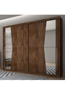 Guarda Roupa Casal Com Espelho 2 Portas De Correr Geom Novo Horizonte Canela