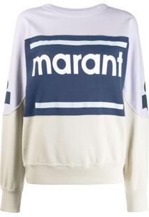 Isabel Marant Étoile Suéter Com Recortes E Logo - Azul