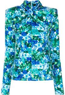 Richard Quinn Blusa Slim Com Estampa Floral - Azul
