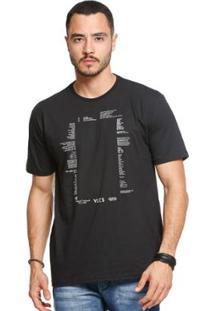 Camiseta Manga Curta Vlcs 18508 Masculina - Masculino-Preto