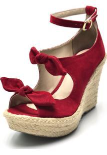 Sandã¡Lia Anabela Salto Alto Com Laã§Os Em Camurã§A Feminino Conforto - Vermelho - Feminino - Dafiti