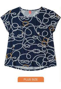 Blusa Azul Marinho Mullet Estampada