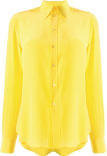 Ralph Lauren Collection Camisa De Seda Com Colarinho Pontiagudo - Amarelo