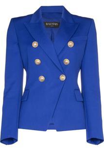 Balmain Blazer Com Abotoamento Simples - Azul