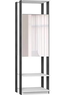 Armário Clothes Com Espelho 2 Pt Branco E Espresso
