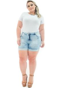 Shorts Confidencial Extra Jeans Cintura Alta Com Lycra Plus Size Feminino - Feminino-Azul