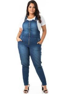 Jardineira Jeans Com Zíper Plus Size Confidencial Extra Feminino - Feminino-Azul