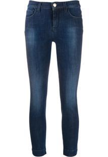 Pinko Calça Jeans Cropped Cintura Alta Com Efeito Manchado - Azul