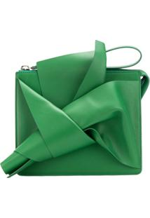Nº21 Clutch De Couro Com Laço Abstrato - Green