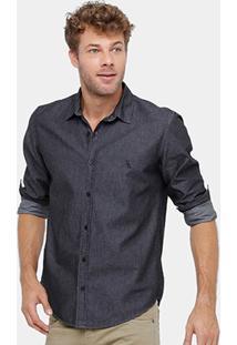 Camisa Jeans Reserva Bordado Logo Masculina - Masculino