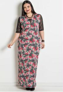 Vestido Longo Com Transparência Plus Size Floral