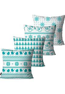 Kit Pump Up Com 4 Capas Para Almofadas Decorativas Natalinas Elementos Do Natal Azul Turquesa 45X45Cm
