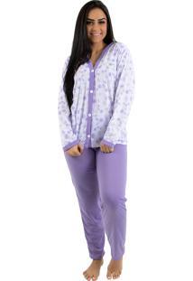 Pijama Linha Noite Longo Goiaba Flores Roxo