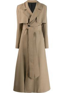 Ami Paris Trench Coat Com Cinto - Neutro