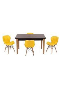 Conjunto Mesa De Jantar Luiza 135Cm Preta Com 4 Cadeiras Slim - Amarelo