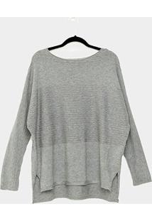 Suéter Tricô Facinelli Com Textura Feminino - Feminino-Cinza