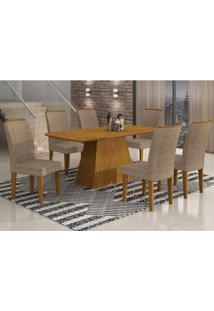 Conjunto Sala De Jantar Mesa Tampo Mdf Luna 6 Cadeiras Lunara Rufato Imbuia/Suede Amassado