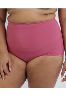 Calcinha Love Secret Plus Size Em Modal Caleçon Com Cintura Alta Modeladora Rosa