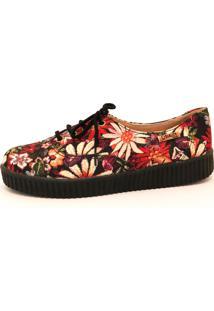 Tênis Creeper Quality Shoes Floral Sola Preta