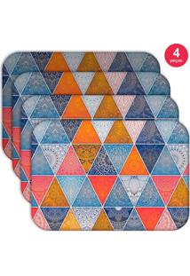 Jogo Americano Love Decor Wevans Geometric Abstract Mandalas Kit Com 4 Pçs