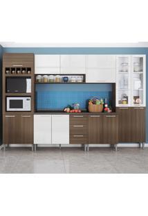 Cozinha Compacta 15 Portas Rafaela 0423T Castanho/Branco - Genialflex