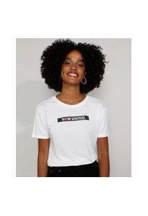 Camiseta Feminina Now United Manga Curta Decote Redondo Off White