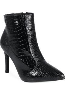 Ankle Boots Feminina Croco Preto