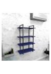 Estante Industrial Escritório Aço Cor Preto 60X30X98Cm (C)X(L)X(A) Cor Mdf Azul Modelo Ind41Azes