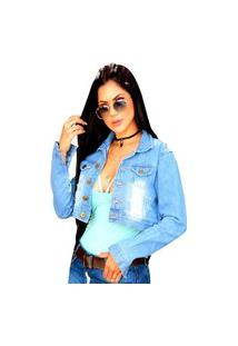 Jaqueta Jeans Feminina Curta Azul O Rei Do Brás