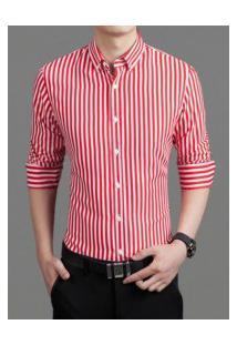 Camisa Masculina Listrada Slim Manga Longa - Vermelho