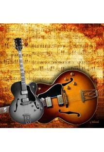 Quadro Impressão Digital Guitarras Marrom 30X30Cm Uniart