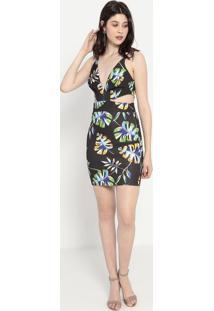 Vestido Com Recortes Vazados- Preto & Verde- Colccicolcci