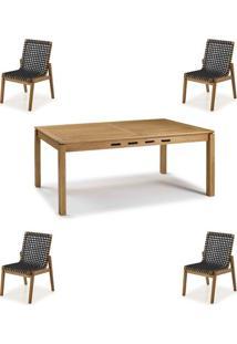 Conjunto Trama Mesa 220Cm + Cadeiras Corda Preta - 60500 - Sun House