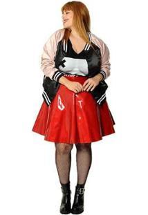 Jaqueta Plus Size Bomber Cat Bowie Feminina - Feminino-Preto
