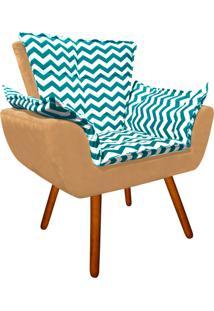 Poltrona Decorativa Opala Suede Composê Estampado Zig Zag Verde Tiffany D78 E Suede Caramelo Sisal - D'Rossi