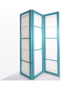 Biombo De Madeira Em Tecido Dominoes Stain Azul T01 - 150X3,5X179 Cm