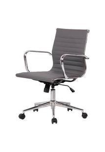 Cadeira Sevilha Eames Baixa Pu Cinza Base Cromada 98Cm - 62976 Cinza