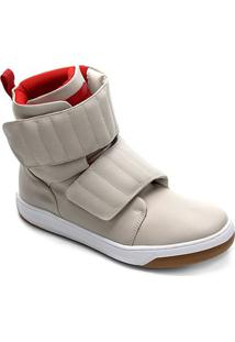 Tênis Couro Cano Alto Hardcorefootwear Velcro Blaqueado Feminino - Feminino-Bege