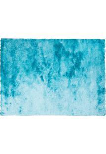 Tapete Shaggy Retangular Poliéster (100X150) Azul