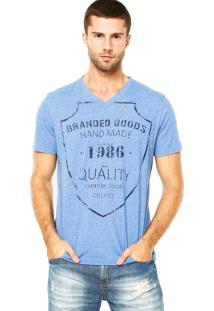 Camiseta Colcci Gola V Azul