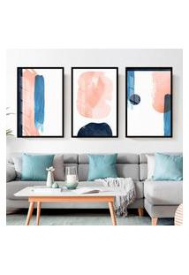 Quadro 60X120Cm Abstrato Nórdico Akuarella Moldura Preta Sem Vidro Decorativo Interioresr