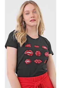 Camiseta Forum Paetês Preta - Kanui