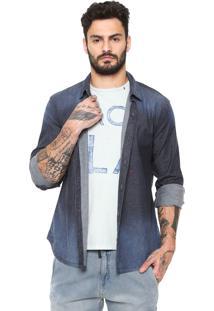 Camisa Jeans Replay Estonada Azul